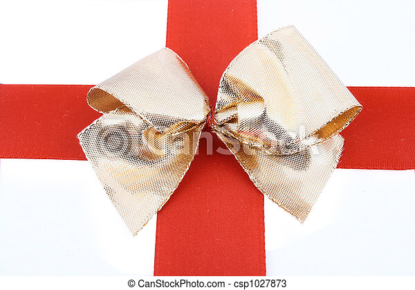 Red bow stripe isolated - csp1027873