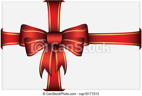 Red bow with ribbons, vector illust - csp16171513