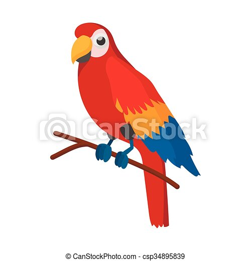 Red brazil parrot icon, cartoon style - csp34895839