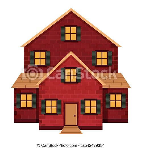 Red Brick House Detailed Colorful Cottage Building Vector