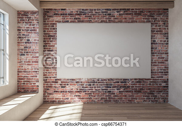 Red Brick Interior With Empty Billboard Modern Red Brick Interior With Emty Billboard And Sunlight Mock Up 3d Rendering Canstock
