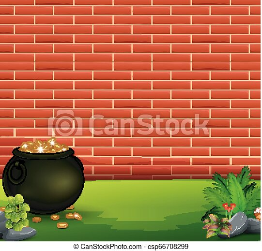 Red brick wall background with pot of coins - csp66708299
