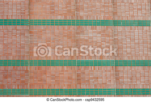 Red Brick Wall with Green Stripes - csp9432595