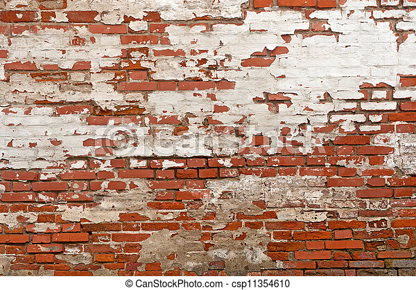 red brick with plaster background - csp11354610