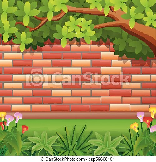 Red brickwall background with tree - csp59668101