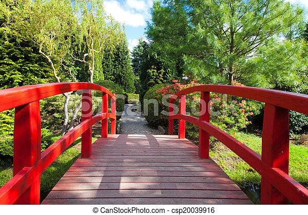 Red Bridge at the Japanese Garden - csp20039916