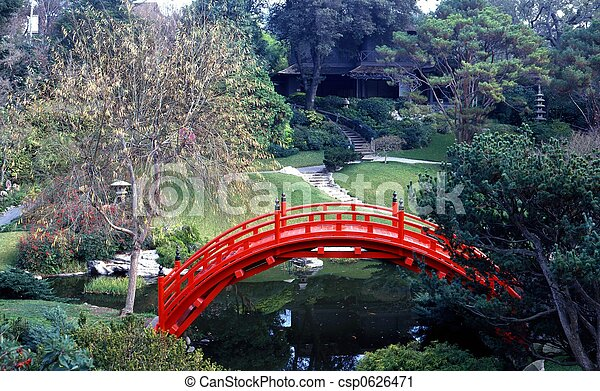 Japanese style garden with pond and red bridge stock for Japanese style bridge