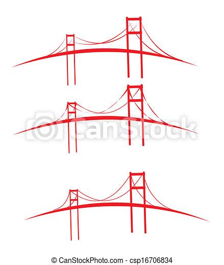red bridges design vector art - csp16706834