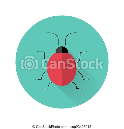 Red bug icon over green - csp23423013