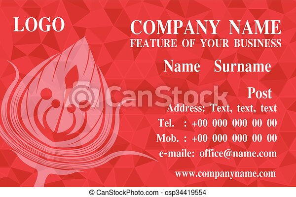 Red Business Cards Background