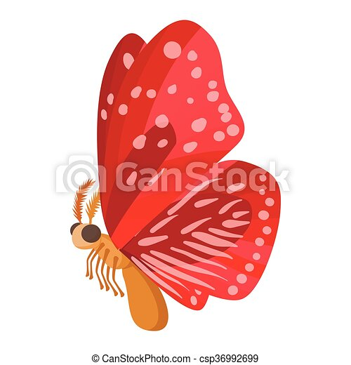 Red butterfly icon, cartoon style - csp36992699