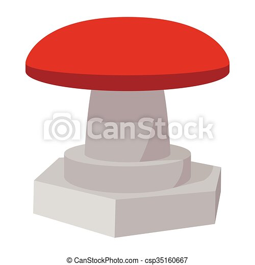 Red button icon, cartoon style - csp35160667