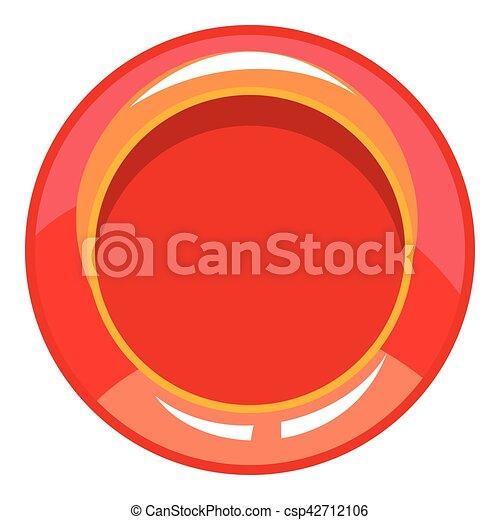 Red button icon, cartoon style - csp42712106