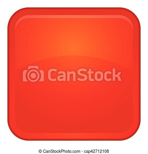 Red button icon, cartoon style - csp42712108