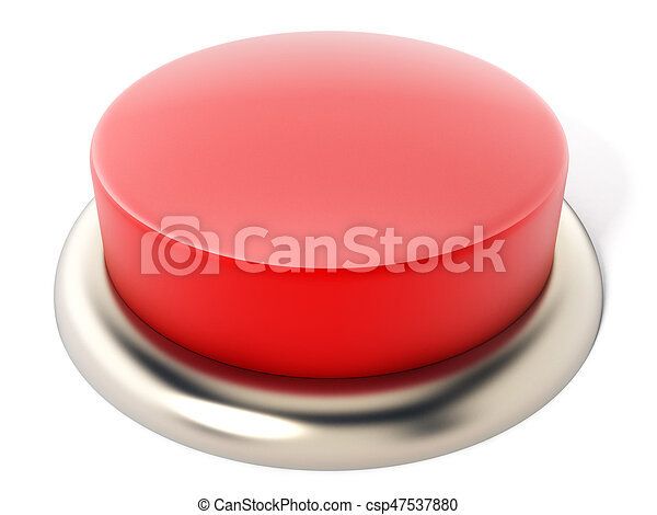 Red button isolated on white background. 3D illustration - csp47537880