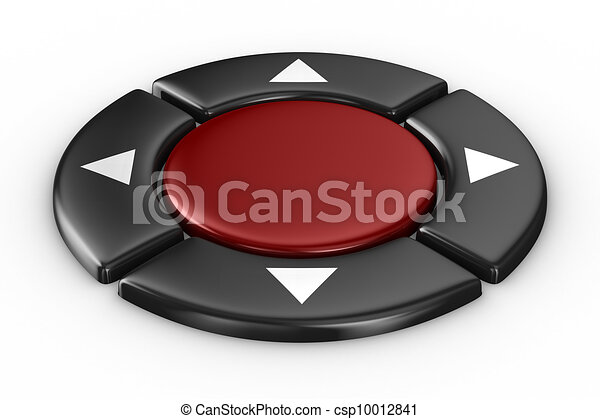 red button on white background. Isolated 3D image - csp10012841