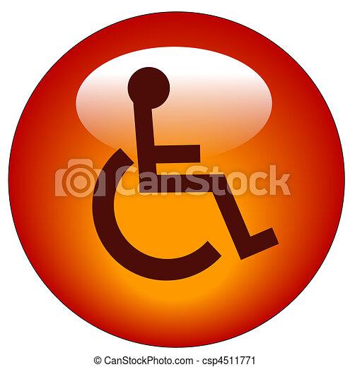 red button with handicap symbol  - csp4511771