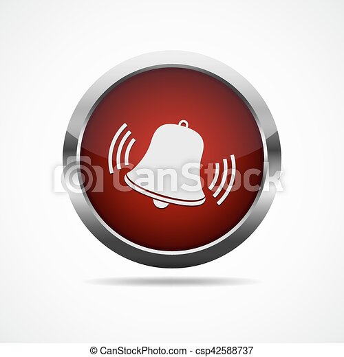 Red button with ringing bell. Vector illustration. - csp42588737