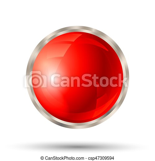 Red button with silver metallic border - csp47309594