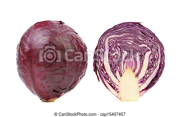 Red cabbage and slice. - csp15407457
