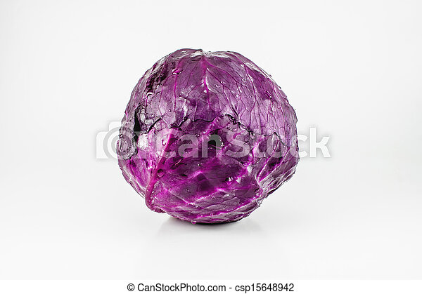 Red cabbage on a white background - csp15648942