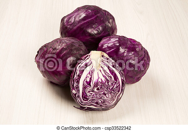 red cabbage on a white background - csp33522342