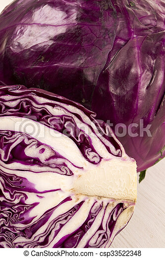 red cabbage on a white background - csp33522348