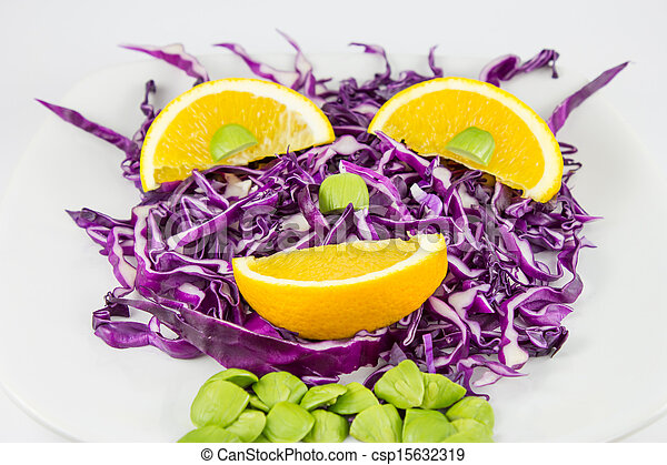 Red Cabbage salad with orange - csp15632319