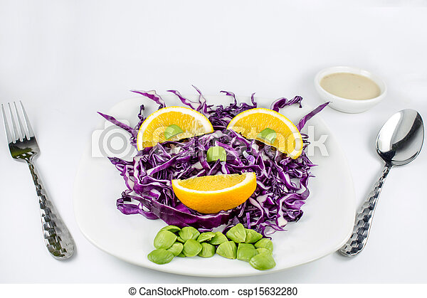 Red Cabbage salad with orange - csp15632280