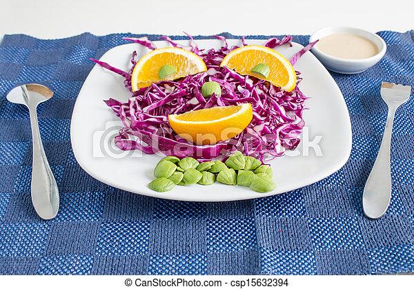 Red Cabbage salad with orange - csp15632394
