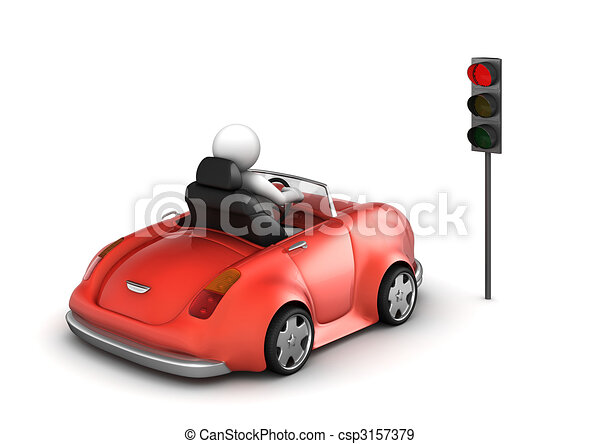 Red cabrio on stopped red traffic light signal - csp3157379