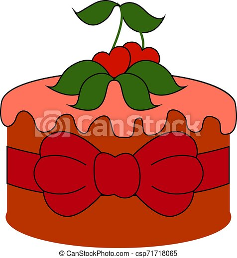 Red cake with cherry, illustration, vector on white background. - csp71718065
