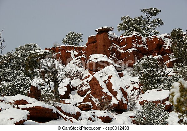 Red Canyon in Snow - csp0012433