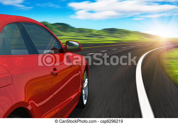 Red car driving by autobahn - csp6296219