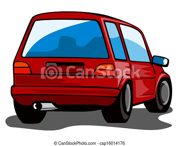 red car station wagon back view illustration of red car stock rh canstockphoto com Front of Car Clip Art Rear of Car Cartoon Clip Art
