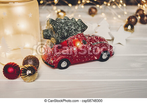 Car With Christmas Tree On Top Decoration  from comps.canstockphoto.com