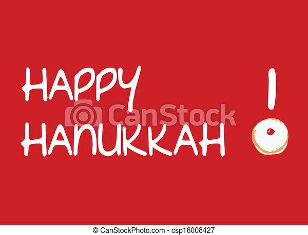 Red Card with Donut for Hanukkah - csp16008427