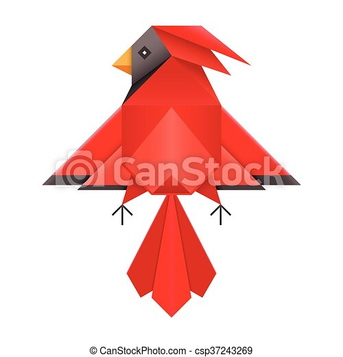 Red Cardinal Geometric Polygonal Icon Abstract Geometric Red