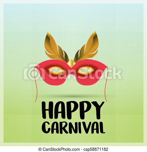 Red carnival mask with golden feathers on green background having black typography - csp58871182