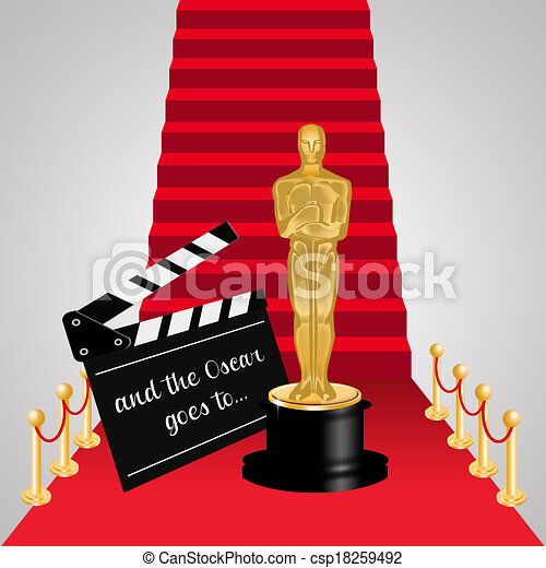 Carpet clipart  Stock Illustration of Red carpet with Oscar statue csp18259492 ...