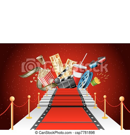 Red carpet entertainment. Illustration of film stripe ...