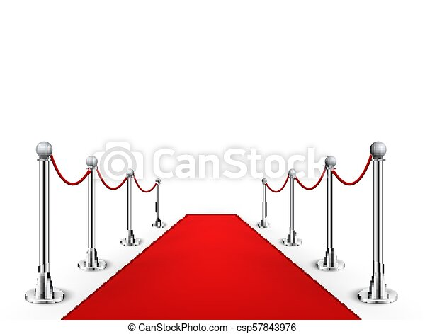 Red carpet event silver barriers background realistic vector illustration   Red carpet luxury entrance celebrity event presentation
