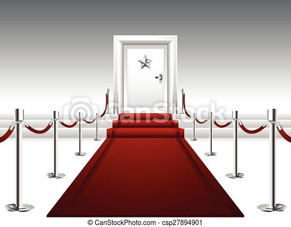 Red Carpet Leading to the Door  - csp27894901