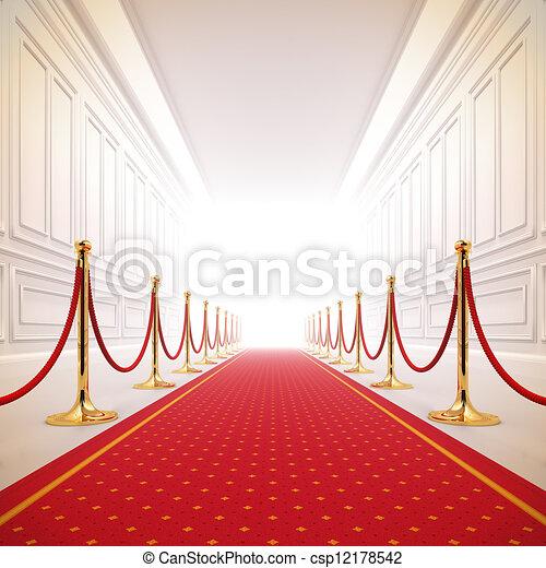 Red carpet path to success light. - csp12178542