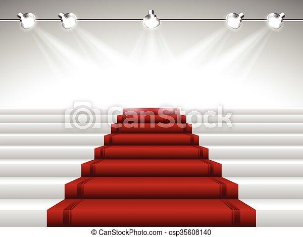 Red Carpet under Spotlights - csp35608140