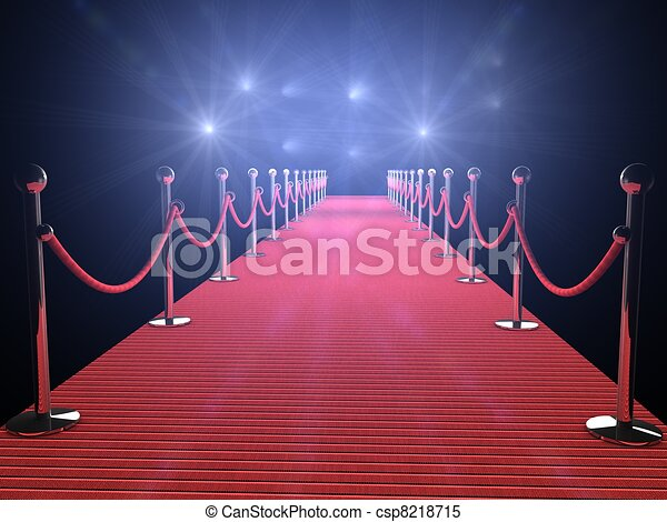 red carpet with flash lights in the background - csp8218715