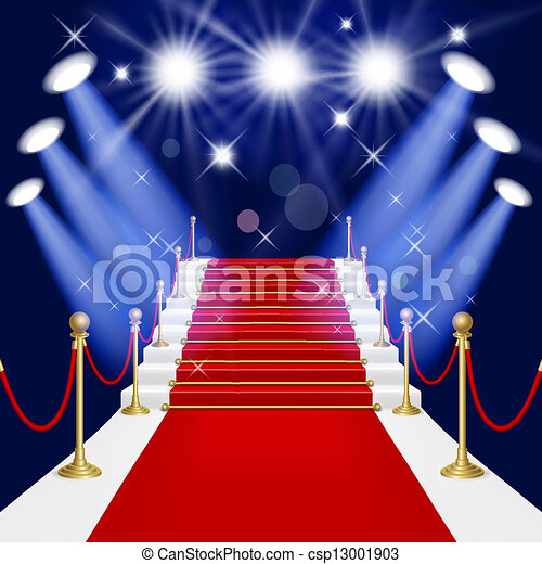Red carpet with ladder - csp13001903