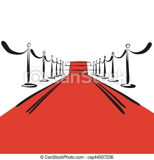 red carpet with steps on stage background hand drawn vectors rh canstockphoto com red carpet vector images red carpet vector free