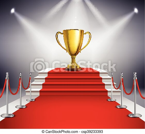 Red Carpet With Trophy - csp39233393