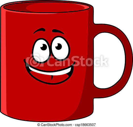 red cartoon coffee mug with a happy face and big smile and a handle